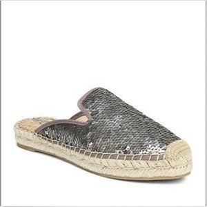 SAM EDELMAN KERRY SILVER PEWTER SEQUIN MULES SHOES